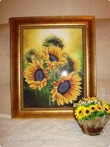 Картина бисером, частичная вышивка, с нанесенным рисунком на канву. Производитель Украина Картины бисером. Готовая работа получилась внушительных размеров. Размер с рамкой 47 на 57 см. фото 2