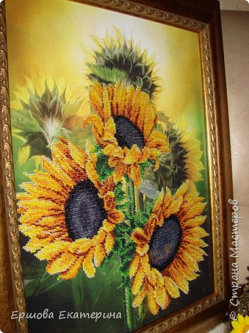 Картина бисером, частичная вышивка, с нанесенным рисунком на канву. Производитель Украина Картины бисером. Готовая работа получилась внушительных размеров. Размер с рамкой 47 на 57 см. фото 5
