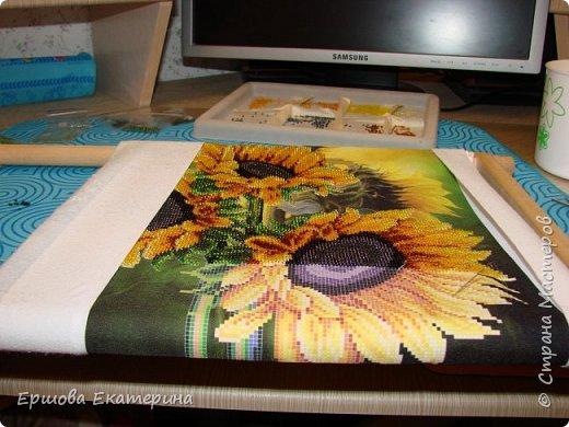 Картина бисером, частичная вышивка, с нанесенным рисунком на канву. Производитель Украина Картины бисером. Готовая работа получилась внушительных размеров. Размер с рамкой 47 на 57 см. фото 13