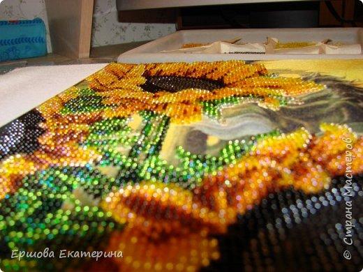 Картина бисером, частичная вышивка, с нанесенным рисунком на канву. Производитель Украина Картины бисером. Готовая работа получилась внушительных размеров. Размер с рамкой 47 на 57 см. фото 14