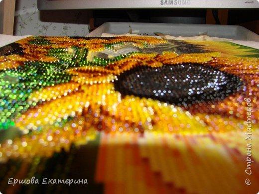 Картина бисером, частичная вышивка, с нанесенным рисунком на канву. Производитель Украина Картины бисером. Готовая работа получилась внушительных размеров. Размер с рамкой 47 на 57 см. фото 16