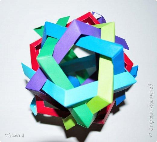 Сегодня я хочу поделиться тем, как я делала 6 пересекающихся пятиугольников, или Makalu (автор Robert J. Lang).  фото 17
