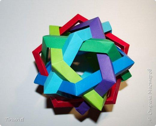 Сегодня я хочу поделиться тем, как я делала 6 пересекающихся пятиугольников, или Makalu (автор Robert J. Lang).  фото 19