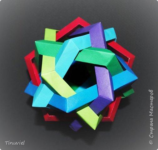 Сегодня я хочу поделиться тем, как я делала 6 пересекающихся пятиугольников, или Makalu (автор Robert J. Lang).  фото 1