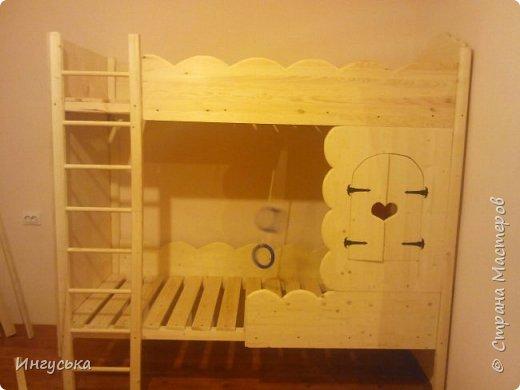 Детская двухэтажная кроватка-домик, выполнена руками мужа для дочери!  фото 1