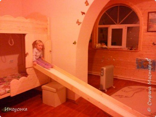 Детская двухэтажная кроватка-домик, выполнена руками мужа для дочери!  фото 2
