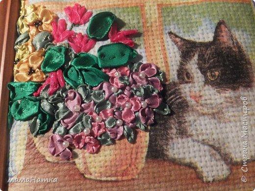Все, как я люблю: кошка, декупаж по ткани, вышивка лентами. фото 1