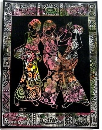 И снова я с любимой африканской темой... Только на этот раз фигурки девушек выскоблены из основного черного фона. фото 2