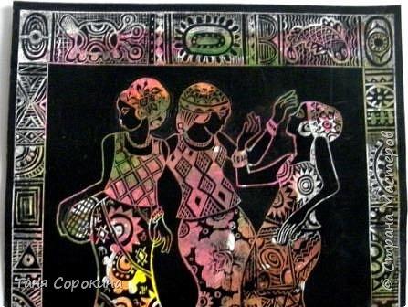 И снова я с любимой африканской темой... Только на этот раз фигурки девушек выскоблены из основного черного фона. фото 6