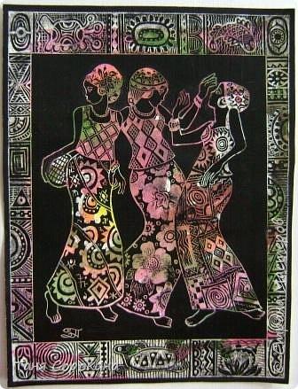 И снова я с любимой африканской темой... Только на этот раз фигурки девушек выскоблены из основного черного фона. фото 7