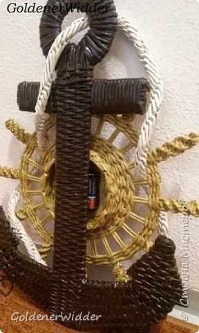 Поделка изделие 23 февраля Плетение Часы- якорь рабочие + небольшой рассказ о том как я их делала Бумага газетная Трубочки бумажные фото 50