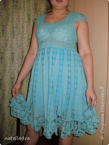 Узнали девушки,что я вяжу крючком и решили заказать мне платье на лето. Страшновато было вязать не себе,а постороннему человеку,но решила попробовать.Вот что вышло... фото 1