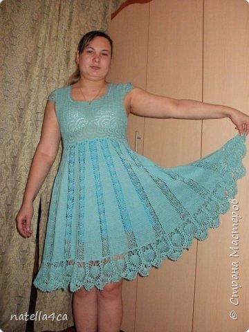 Узнали девушки,что я вяжу крючком и решили заказать мне платье на лето. Страшновато было вязать не себе,а постороннему человеку,но решила попробовать.Вот что вышло... фото 3