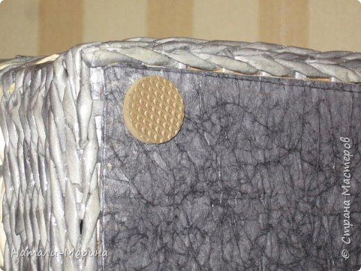 Короб (тоже первенец) для белья в ванную комнату. Крышка не крепится. Оплетена с обеих сторон. фото 4