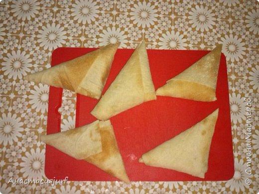 Кулинария Мастер-класс Треугольники из лаваша с ветчиной и сыром фото 6