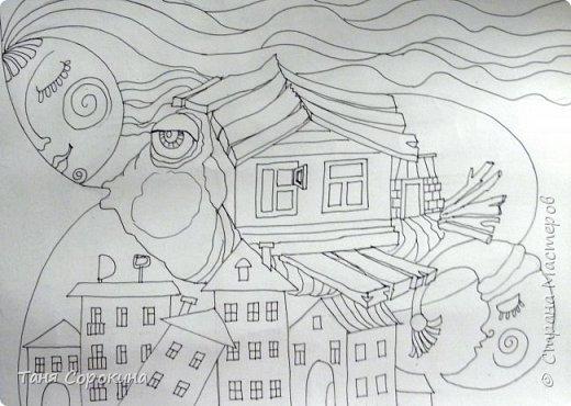 Картина панно рисунок Мастер-класс Граттаж Домашняя рыба Яичный граттаж Мастер-класс №2 Акварель Картон Тушь фото 3