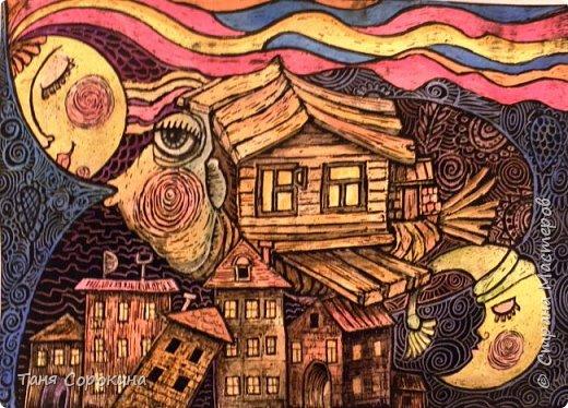 Картина панно рисунок Мастер-класс Граттаж Домашняя рыба Яичный граттаж Мастер-класс №2 Акварель Картон Тушь фото 1