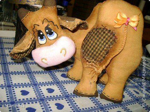 Игрушка Мастер-класс Шитьё Шьём -Смешную коровку- М К Клей Кофе Краска Ткань фото 1