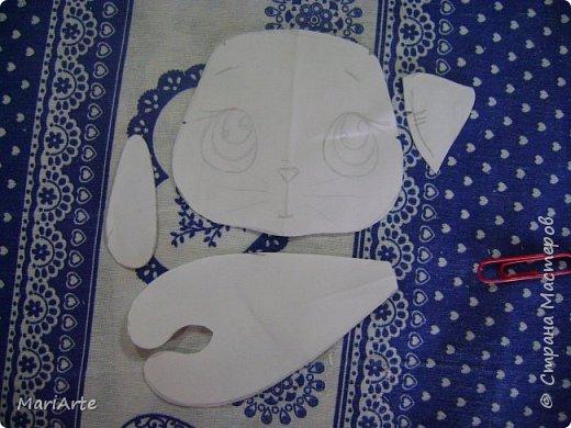Мастер-класс Шитьё Шьем Котенка М К Клей Кофе Краска Ткань фото 2