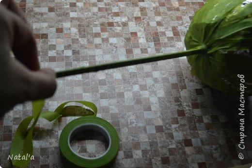 """Скорее всего не буду оригинальной создавая этот мастер-класс, но всё таки поделюсь как делала такое деревце, вдруг окажется нужным))). Для его создания вам понадобятся: атласные ленты бусины деревянные шпажки для ствола пластиковый или стеклянный стакан для горшка ремень плетёный гипс или алебастр для заливки клеевой пистолет и стержни к нему сизаль и """"травка"""" (продаются в магазинах в виде коврика) газета или журнал и фольга для основы фото 10"""