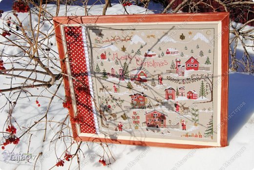 Картина панно рисунок Поделка изделие Новый год Вышивка крестом Деревенька ты моя  Бисер Канва Нитки фото 5