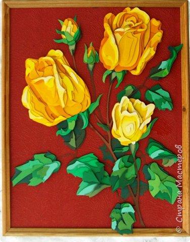 Желтые розы. Размер работы 35х45 см.