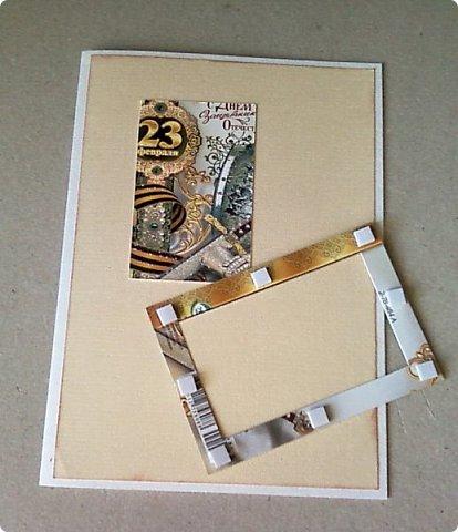 С помощью мелких картинок, открыточек и небольшого декора можно создать с детьми приличную открытку для папы, дедушки. фото 4