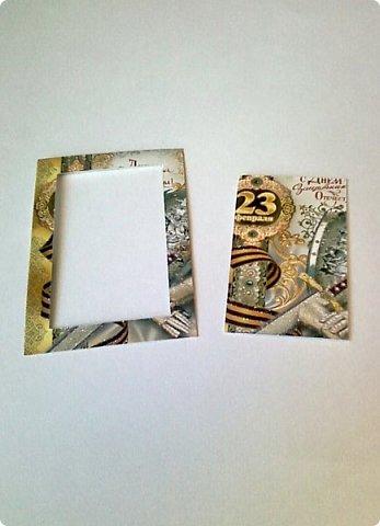 С помощью мелких картинок, открыточек и небольшого декора можно создать с детьми приличную открытку для папы, дедушки. фото 3
