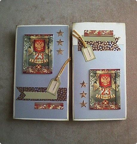 С помощью мелких картинок, открыточек и небольшого декора можно создать с детьми приличную открытку для папы, дедушки. фото 9