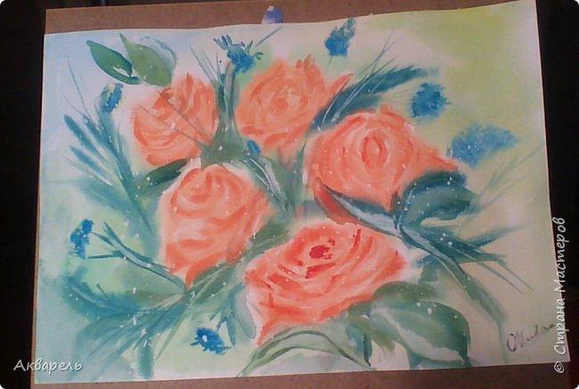 Пытаюсь рисовать, ушла боязнь чистого листа и хочется рисовать, рисовать....... все что вижу. Очень хотелось нарисовать маки, нашла фотку в интернете. Мне она показалась интересной и не очень сложной. Очень я ошиблась. Цветы я рисовала всегда как школьники рисуют, лепесточек, серединка, листок - вот и цветок. Рисовала часов пять не отрывалась. фото 9