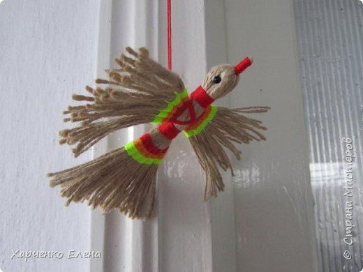Куклы Мастер-класс Плетение ПТИЧКА-ОБЕРЕГ ИЗ ШПАГАТА Бусины Нитки Шпагат фото 1