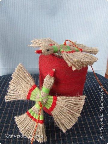 Куклы Мастер-класс Плетение ПТИЧКА-ОБЕРЕГ ИЗ ШПАГАТА Бусины Нитки Шпагат фото 12