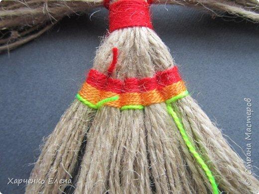 Куклы Мастер-класс Плетение ПТИЧКА-ОБЕРЕГ ИЗ ШПАГАТА Бусины Нитки Шпагат фото 8
