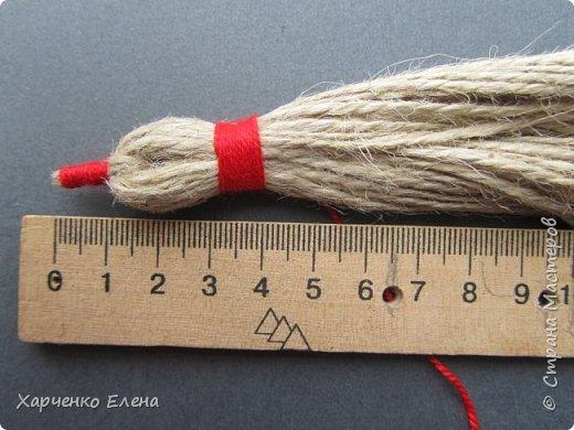 Куклы Мастер-класс Плетение ПТИЧКА-ОБЕРЕГ ИЗ ШПАГАТА Бусины Нитки Шпагат фото 5