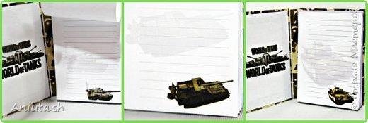 Сделала мужу на 23 февраля блокнот и открыточку на скорую руку. Все связано с танками. фото 4