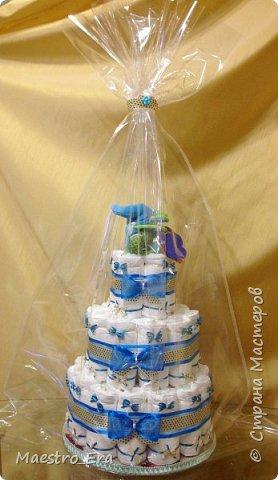 """Доброго времени суток всем жителям и гостям Страны Мастеров! Вот какие тортики я """"выпекла"""" на днях: - трехэтажный торт из подгузников для девочки: фото 4"""