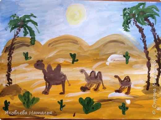 """Воспользовалась опытом Галены из Страны Мастеров и у нас вышли вот такие работы. Первые две рисовали с 6 - летками """"Караван"""" фото 4"""