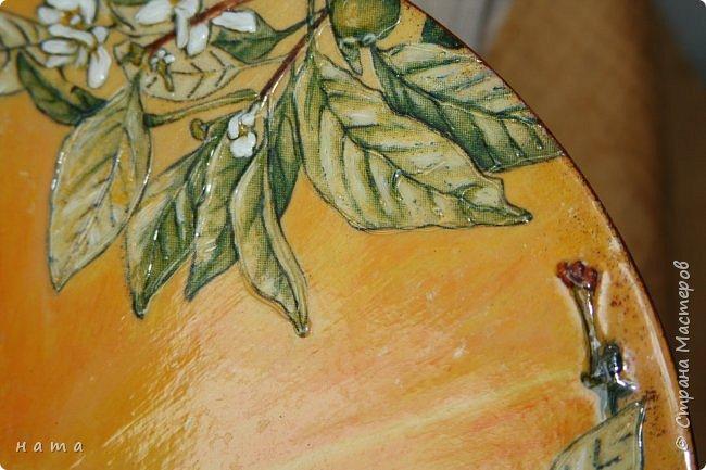 """Комплектик на кухню """"Про апельсины""""  Люблю цветущие цитрусовые, этот аромат на все комнаты...волшебный! Очень хотелось завести яркое пятнышко на своей кухне, вот что у меня получилось, правда далеко не с первого раза)))  Это первый """"настоящий"""" декупаж со многими слоями лака, грутна, подрисовки, Это очень капризная салфеточка, но такая хочушная!  фото 8"""
