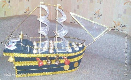 Спасибо большое мастерицам за их подробные мк.  Все МК понятные и все в них расписано доступно.  корабль делала опираясь на МК  Евгении https://stranamasterov.ru/node/768342 , пару с делала по мк   Ирины  https://stranamasterov.ru/node/817387  . Делала корабль для дядюшки мужа ,он работает на небольшом судоремонтном заводике,строят  рыболовецкие суда, и лодки.  Мне понравилось делать корабль,это был пробный вариант. Муж  даже предупредил,что в сентябре месяце у капитана рыболовецкого судна где он работает будет юбилей нужно еще одно судно. Вручили мы это судно имениннику , я даже не ожидала такой радости. А когда на ушко шепнули,что в трюме спрятана бутылка горячительного напитка удивления не было придела. Я осталась довольна, что имениннику понравился подарок. Но  недочеты есть,жду ваших тапочек.