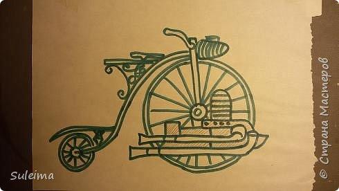 Картина панно рисунок Мастер-класс Аппликация Ассамбляж Ретро велосипед стимпанк Бумага Картон фото 4