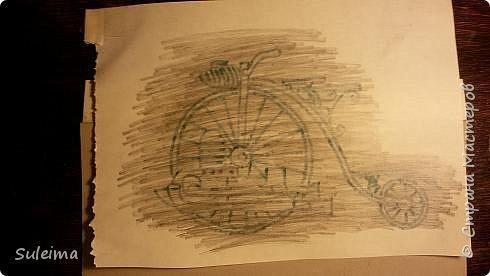 Картина панно рисунок Мастер-класс Аппликация Ассамбляж Ретро велосипед стимпанк Бумага Картон фото 7