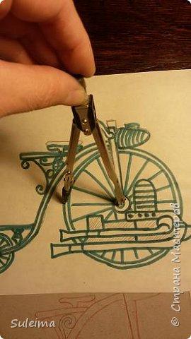 Картина панно рисунок Мастер-класс Аппликация Ассамбляж Ретро велосипед стимпанк Бумага Картон фото 8