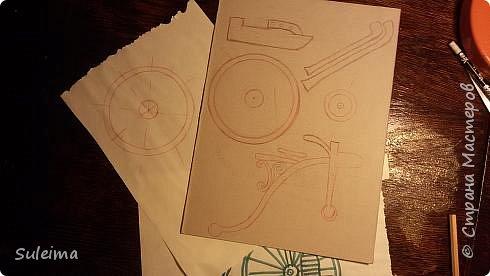 Картина панно рисунок Мастер-класс Аппликация Ассамбляж Ретро велосипед стимпанк Бумага Картон фото 9