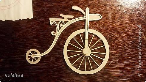 Картина панно рисунок Мастер-класс Аппликация Ассамбляж Ретро велосипед стимпанк Бумага Картон фото 15