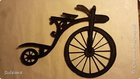 Картина панно рисунок Мастер-класс Аппликация Ассамбляж Ретро велосипед стимпанк Бумага Картон фото 16