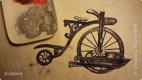 Картина панно рисунок Мастер-класс Аппликация Ассамбляж Ретро велосипед стимпанк Бумага Картон фото 17
