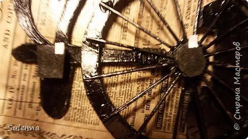 Картина панно рисунок Мастер-класс Аппликация Ассамбляж Ретро велосипед стимпанк Бумага Картон фото 18