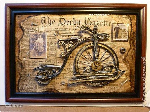 Картина панно рисунок Мастер-класс Аппликация Ассамбляж Ретро велосипед стимпанк Бумага Картон фото 22