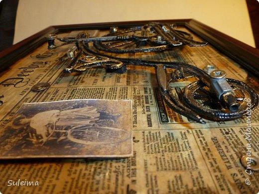 Картина панно рисунок Мастер-класс Аппликация Ассамбляж Ретро велосипед стимпанк Бумага Картон фото 23