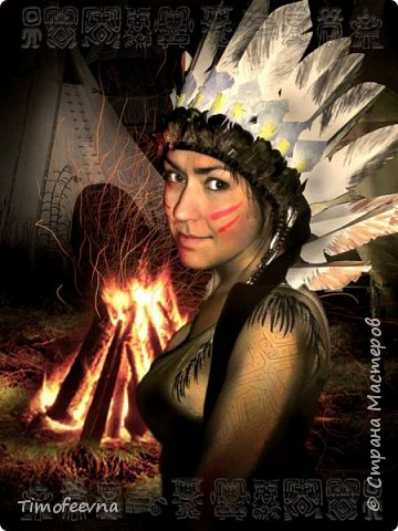 """Здравствуйте гости моего блога!  Хочу показать вам костюм, который я приготовила своему сыну на празднование последнего Нового года (2015). Это костюм-переделка из покупного черепашки-ниндзя в индейского шамана. На штанах и рубахе аппликации из вискозных (моих любимых:) салфеток. Жёлтая бахрома из тех же салфеток, а на рукавах бахрома покупная. В руках у сына ритуальный топорик. Рукоятку выстрогал из дерева наш дедушка, а топорище я слепила из солёного теста. На рукоятке имя моего шамана: Михо медвежья лапа. Ударение на О. На груди шамана его знак - медвежья лапа :) Топорик украшен зубом из соленого теста и цветными перышками. На штанине сбоку есть специальная """"кобура"""" под топорик, он прочно вставляется и не мешает ходьбе и танцам вокруг костра. фото 5"""